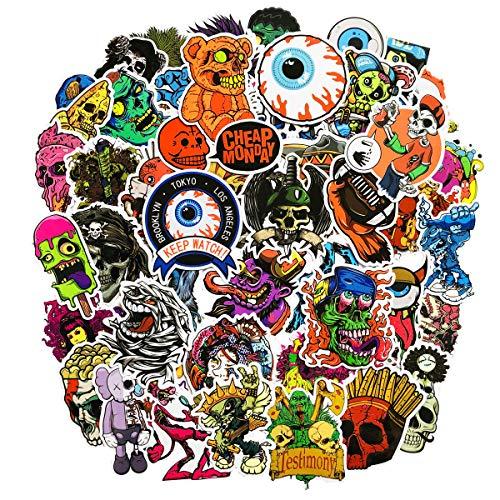 Zuiyijiangnan-Confezione da 50pz pezzi Halloween vinile impermeabile Scary horror Stories adesivi teschio per personalizzare di auto casco skateboard bagagli graffiti decalcomanie 1