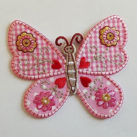 2 Ecussons patch appliques Papillon Rose 7Cm High Écureuil 8X8Cm thermocollant brode broderie pour vetement jeans veste enfant bebe femme avec dessin TrickyBoo Zurich Suisse pour France