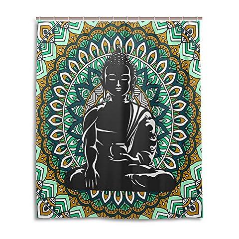 Bath Shower Curtain 60x72 Inch,Ethnic Green Mandala Black Buddha ,Mildew Proof Polyester Fabric Bathroom