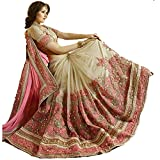 Fabfort Net Saree With Blouse Piece (Fabtzm2-3_Pink,Gold,Beige_Free Size)