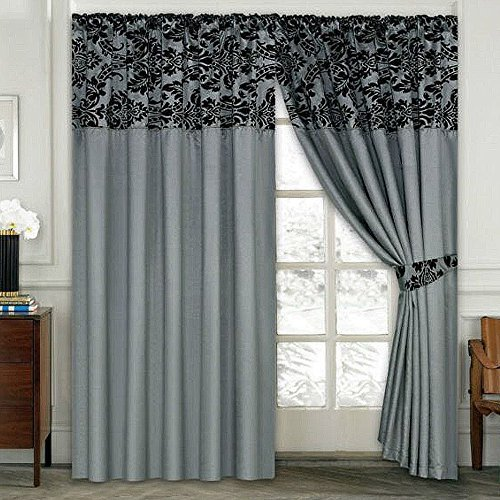 LUXURY Damask Curtains Pair Of Half Flock Pencil Pleat Window Curtain  Fusion(TM) (90x90, grey) - Grey Bedroom Curtains: Amazon.co.uk