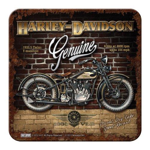 Nostalgic-Art - Harley-Davidson de Muro de Ladrillos - Metal-Posavasos - 9 x 9 cm
