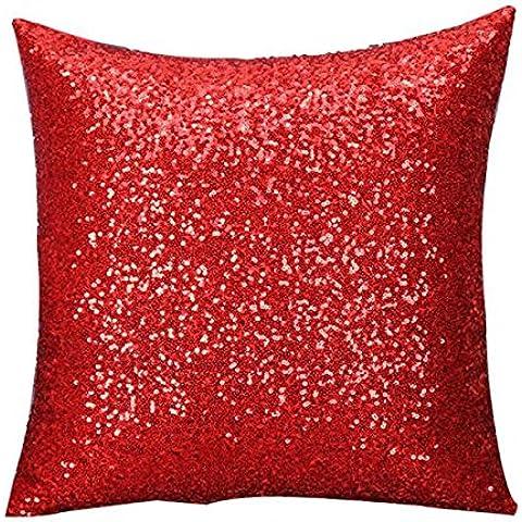 Cuscino,WINWINTOM Solido Colore Glitter Paillettes Tiro Del Cuscino Di Caso Cafe Home Decor Cuscini Rosso