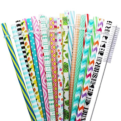 Paille réutilisable Benvo Palettes de boissons colorées en plastique pour anniversaire, mariage, baby shower, fêtes et fêtes, 30 pièces (dimensions: environ Ø 7 mm x 22,8 mm), bonus avec brosse de nettoyage