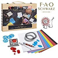 FAO Schwarz Premium 24-Piece Kids Spiral Art Set Engaging, Creative & Educational Drawing, Crafts Kit For Preschoolers, Includes Tracers, Colorful Paper Pad, Multicolor Pen & Wheeled Shapes