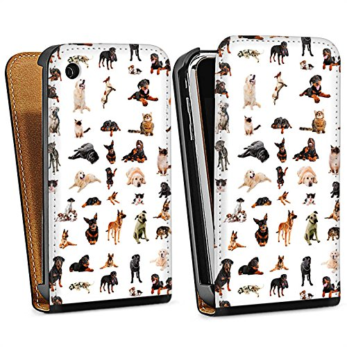 Apple iPhone 5s Housse Étui Protection Coque Chat Chien Golden Retriever Sac Downflip noir