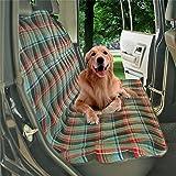 Funda impermeable UniFlow tipo hamaca para llevar al perro en el asiento trasero de coche, antideslizante, con fijaciones de velcro, agujeros para el cinturón, en color verde, convertible, 145 x 115 cm aproximadamente, apta para camioneta o todoterreno, se puede lavar a máquina