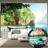 Fototapete Fischer-Boot in tropischer Bucht Wandbild Dekoration Urlaub Reisen Strand Paradies Bay Natur Insel Meer Travel Beach | Foto-Tapete Wandtapete Fotoposter Wanddeko by GREAT ART (336 x 238 cm)