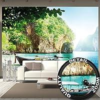 Foto mural Bote pescador en bahía tropical Mural Decoración Vacaciones Viajar Playa Paraíso Bahía Naturaleza Isla Mar Viaje Playa I foto-mural foto póster deco pared by GREAT ART (336 x 238 cm)