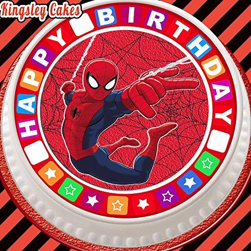 Glaçage comestible prédécoupée pour gâteau, 19,1 cm rond Spiderman avec bordure « happy birthday »