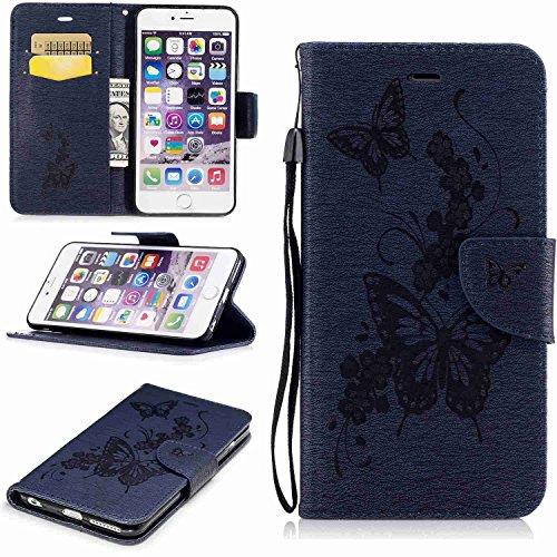 Guran® PU Ledertasche Case für Apple iPhone 7 Smartphone Flip Cover Stent-Funktion und Karte Slot Hülle Retro Schmetterling Etui - Rosenrot Dunkelblau