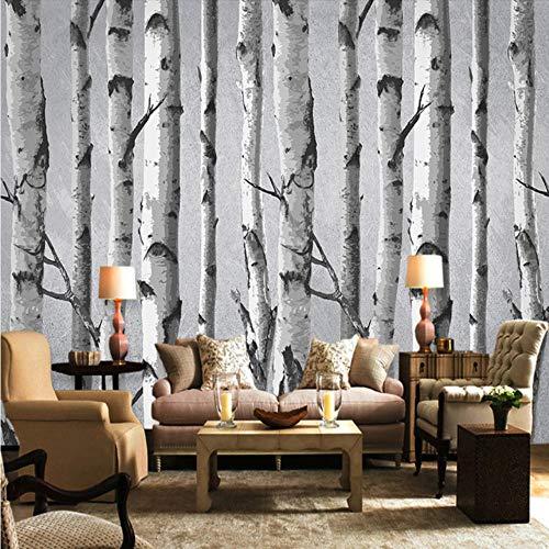 Mgdtt Benutzerdefinierte Wandbild Tapete 3D Retro Birke Hintergrund Wandbild Wohnzimmer Tv Sofa Schlafzimmer Restaurant Wandverkleidung Modernes 3D-Dekor-280X200Cm - Birke Wohnzimmer Sofa