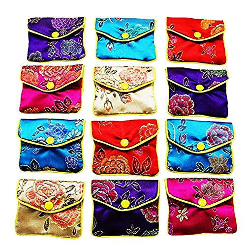8945e5b1a Liuxi Multi-color Jewelry Bags,12 pcs Jewelry Rolls Storage Bag Jewellery  Silk Purse
