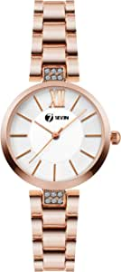 seven-7 Formal Analogue - Digital Women's Watch (White Dial Gold Colored Strap)