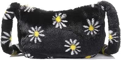 HAIWILL PlüSchtasche PlüSch UmhäNgetasche Handtasche FüR Damen Kleine Crossbody Fluffy Bag Clutche GeldböRse Quadratische Handytasche Handy Flauschige Tasche Mit Kettenhenkel