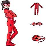 FZCRRDU KOCCAE Carnaval Disfraz de Mariquita Para Niña Halloween Ladybug Viste a Cosplay 3-10 años Leotardo Bodysuit Con Luna
