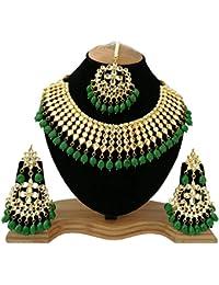 Finekraft Meena Kundan Stylish Gold Plated Wedding Designer Choker Necklace Jewelry Set - B0795N83GZ
