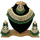 #7: Finekraft Meena Kundan Green Gold Plated Choker Necklace Set For Women
