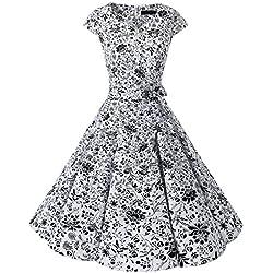 Dresstells Mujer vestido corto retro años 50 vintage cóctel white skull