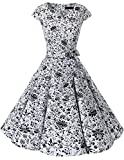 Dresstells Damen Vintage 50er Cap Sleeves Rockabilly Swing Kleider Retro Hepburn Stil Cocktailkleid White Skull 3XL