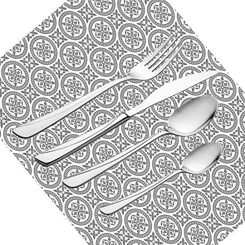 et, graues Set Geschirr Besteckset aus Edelstahl für 6 Personen Einschließlich Messer, Gabeln, Löffel, Teelöffel und Tischset, antike verzierte orientalische Blumenmotive Ethn ()