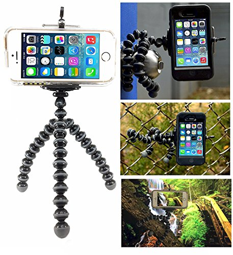 Flexible Tripod for iPhone 7 6s 6 5s 5c 5 4s 4 SE 8 X Galaxy S8 S7 S6 S5 S4 S3 S2 - Bendy Tripod - Cellphone Tripod Adapter - Mini Lightweight Bendable by Macngrid