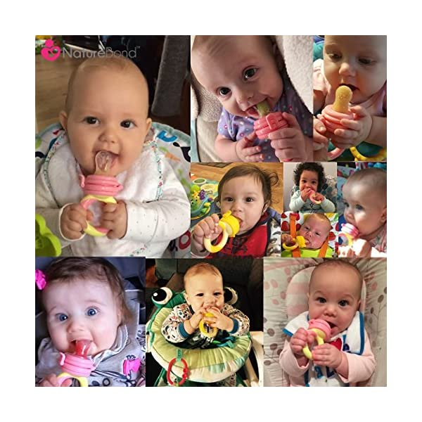 NatureBond Baby Food Feeder/Fruit Feeder Pacifier (2 PCs) - Infant Teething Toy Nibbler Teether and Silicone Food Pouches in Appetite Stimulating Colors | Includes 6 PCs All Sizes Silicone Sacs 3