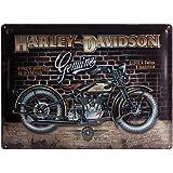 Nostalgic Art Harley Davidson Brick Wall - Placa decorativa, metal, 30 x 40 cm, color ocres