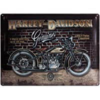 Nostalgic-Art Harley Davidson Brick Wall - Placa decorativa, metal, 30 x 40 cm, color ocres