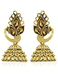Spargz Antique Peacock Design Gold Plated Synthetics Stone Bollywood Jhumki Earrings For Women AIER 922