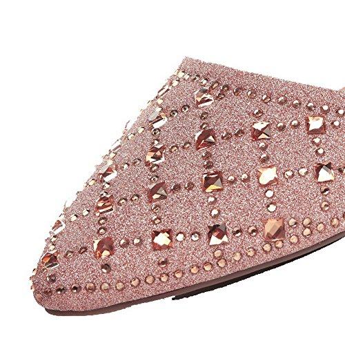 AgooLar Damen Spitz Zehe Ohne Absatz Schnalle Rein Flache Schuhe Pink