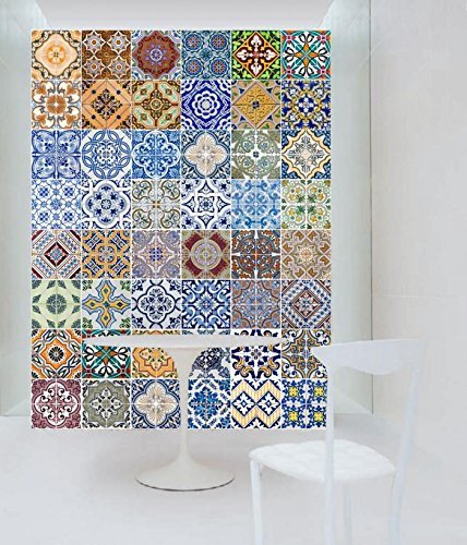 Portuguese Tiles Art Azulejos Wall Kitchen Stickers (Pack with 48) (12 x 12 inches)