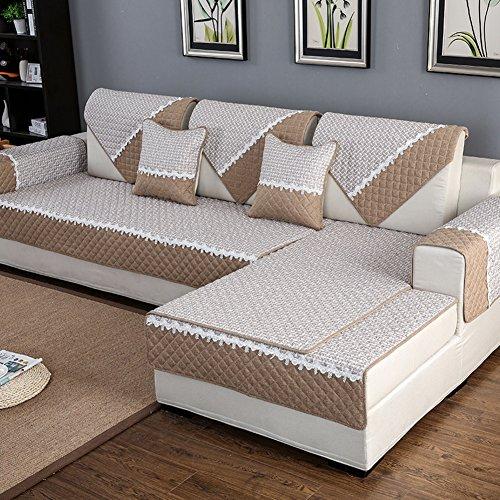 Multi-sofa Schonbezug (HM&DX Anti-rutsch Sofa Abdeckung Für Sektionaltore Couch Baumwolle Polyester Gesteppter Sofa Überwurf Multi-Size Sofahusse Für Wohnzimmer-beige 70x150cm(28x59inch))