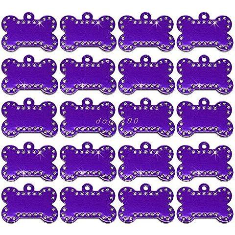 Epyen (TM) 20pcs / lot variopinto di figura Bone alluminio personalizzato inciso Pet ID Tag Dog Cat Nome Numero di telefono Tag 4 colori