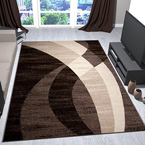 Preisvergleich Produktbild Teppich Modern Design Beige Braun Creme Geschwungene Streifen Muster Kurzflor Wohnzimmer Teppiche 120x170 cm