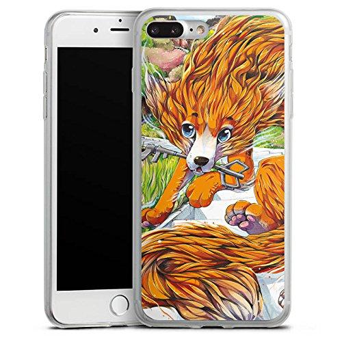 Apple iPhone 8 Plus Slim Case Silikon Hülle Schutzhülle Fuchs Zeichnung Orange Silikon Slim Case transparent