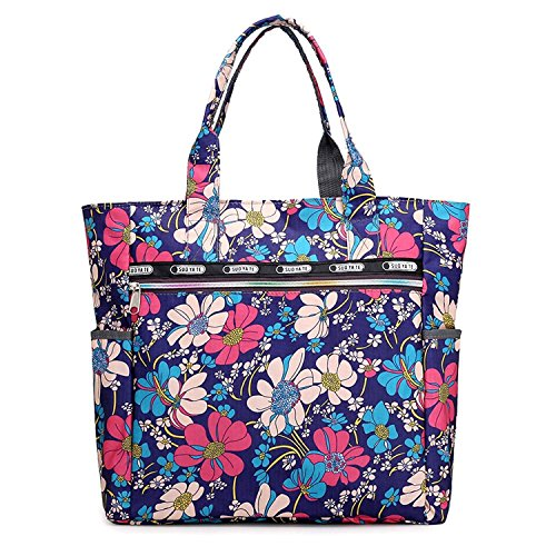 Nawoshow Women Lightweight Nylon Floral Satchel Shoulder Bag Waterproof  Handbags Shopping Tote Bags (Blue Flower bf9ccc1feb87
