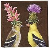 Paperproducts Design Design Vicki Sawyer Distelfink Paar hochwertigem Papier Cocktail Servietten, multicolor