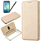 Coque Samsung Galaxy A3 2016, HB-Int 3 en 1 Housse Etui PU Cover avec Placage Coque + Transparente Soft Gel Silicone Back Arrière Folio Case Stand Fonction Bookstyle Coque de Protection Housse Leather Case Wallet Flip Protective Cover pour Galaxy A3 2016 Etui + 1 X Film de L'écran + 1 X Stylet - Or