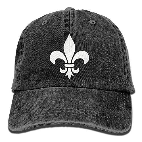Hoswee Unisex Kappe/Baseballkappe, Fleur De Lis Washed Retro Adjustable Denim Hat Gym Caps for Man and Woman -