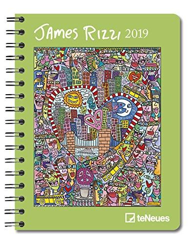 James Rizzi - Buchkalender Delux 2019 - Kalenderbuch A5-14 Monate - Taschenkalender - teNeues-Verlag - Taschenplaner mit Spiralbindung und farbigen Abbildungen - 16,5 cm x 21,6 cm - Kunstkalender
