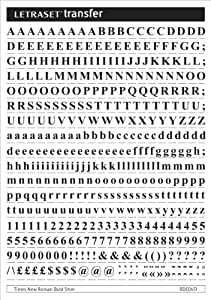 Letraset Kit planche de caractères transfert Times NRB 5 mm + grattoir Noir Format A5