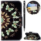 WIWJ Schutzhülle für Galaxy J3 2017(EU Version)Handyhülle Leather Case für Galaxy J3 2017 Hülle[Messer Schnalle Gemalt Stand Handy Case]Hülle für Samsung Galaxy J3 2017-Halbkreisförmiger Schmetterling