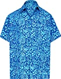 LA LEELA Hawaiian Party sulla Spiaggia Collare Diffusione Casuale Maniche Corte degli Uomini Tasca Anteriore della...