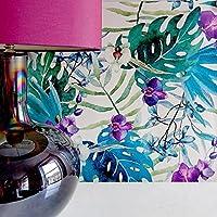 Orchidea & Giungla Foglia Floreale Vivente Muro effetto Carta Da Parati Floreale in verde, Blu & Violetto Viola - Blu/Violetto, Sample