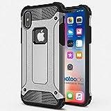 gahatoo iPhone X [10] Outdoor Case Hülle Ultra Slim [Hybrid TPU Silikon Hardcase] Handyhülle in Grau [Tactical Military Defender]
