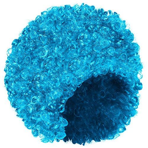 und Haarteil für Damen Fasching Karneval (Blau-Türkis) (Lustige Afro)