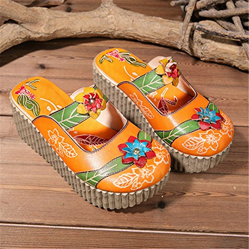 d95a08f12b22f Socofy-Womens-Leather-Slipper-Ladies-Summer-Leather-Slip-Ons-Platform-Wedges -Heel-Flat-Sandals-Oxford-Slipper-Vintage-colorful-Flower-Backless-Loafer-Shoes-  ...