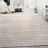 Paco Home Tappeto di Design con Motivo Floreale E Filato Lucido in Crema Bianco mélange, Dimensione:160x220 cm