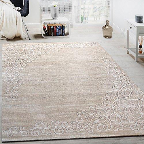 Tappeto di design con motivo floreale e filato lucido in crema bianco mélange, dimensione:80x150 cm